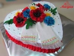 #п130(20) торт сердце в украинском стиле