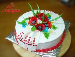 #п130(4) торт в украинском стиле с маками и рушныком