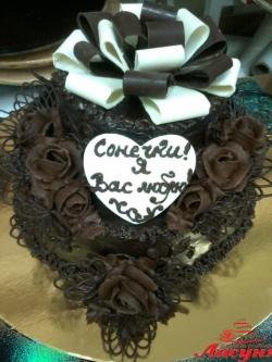 #п135(5) шоколадный торт с бантом