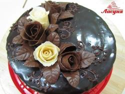 #п140(1) торт с шоколадными розами