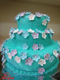 #п140(19) бирюзовый торт с цветочками