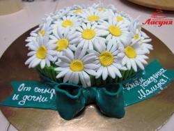 #п150(11) торт корзина с ромашками