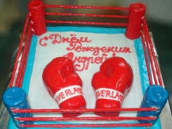 #п150(16) торт для боксёра ринг и перчатки
