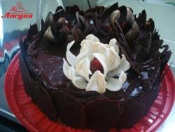 #п150(31) шоколадный торт с цветами лотоса