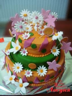 #п150(4) торт с цветами и звёздами