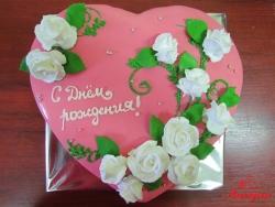 #п150(45) торт на день рождения сердце с розами