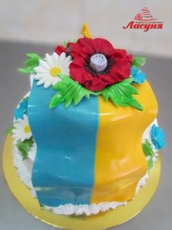 #п160(14) торт флаг Украины с маками и ромашками
