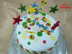 #п160(32) торт со звёздочками и карамельками на палочках