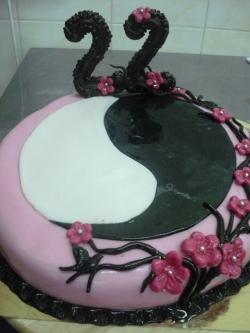 #п180(3) торт на 22 года для девушки инь-янь