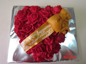 #п180(5) торт сердце из роз