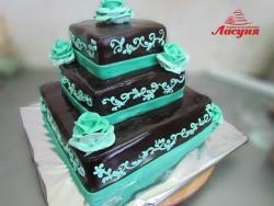 #п180(7) торт шоколадный 3 яруса с розами