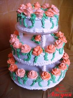 #с135 (10) Свадебный торт с розами
