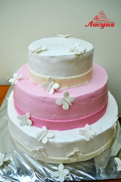 #с135 (13) Свадебный торт бело-розовый с бабочками