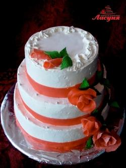 #с135 (14) Свадебный торт с красными розами