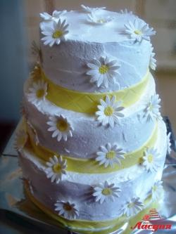 #с135 (15) Свадебный торт с ромашками