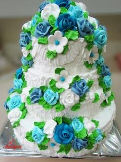 #с135 (2) Свадебный торт с розами