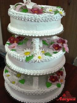 #с135 (20) Свадебный торт с ромашками