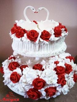 #с135 (22) Свадебный торт с розами