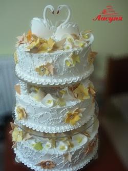 #с135 (25) Свадебный торт с лебедями