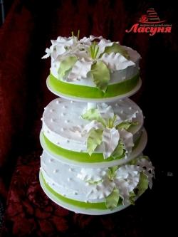 #с135 (34) Свадебный торт с орхидеями