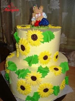 #с135 (36) Свадебный торт с подсолнухами