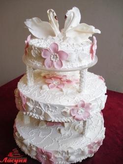 #с135 (37) Свадебный торт с лебедями