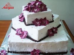 #с135 (42) Свадебный торт квадратный