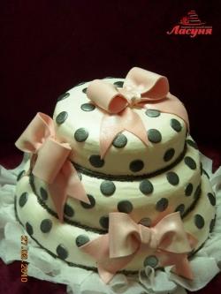 #с135 (44) Свадебный торт с бантами