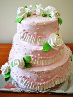 #с135 (5) Свадебный торт розовый