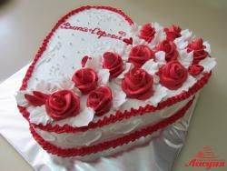 #с135 (53) свадебный торт сердце с розами