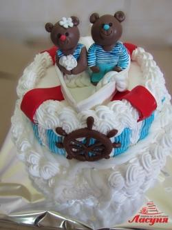 #с135 (54) Свадебный торт мишки моряки