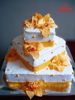 #с180 (10) свадебный торт с орхидеями