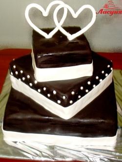 #с180 (12) свадебный торт с сердцами
