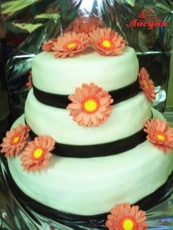#с180 (18) свадебный торт с цветами