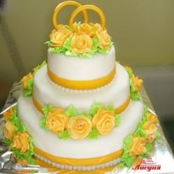 #с180 (19) свадебный торт с кольцами