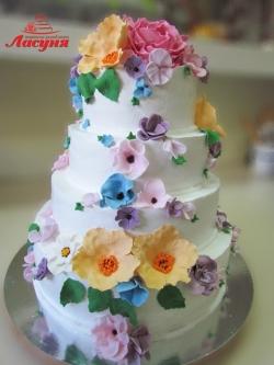 #с180 (25) свадебный торт с цветами