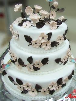 #с180 (34) Свадебный торт в бежевых тонах