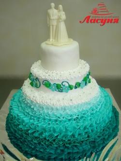 #с180 (4) свадебный торт бирюзовый