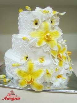 #с180 (45) Свадебный торт с орхидеями