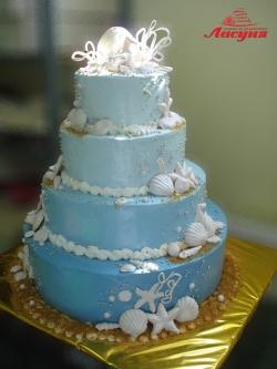 #с180 (5) Свадебный торт Морской