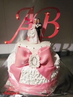 #с180 (6) свадебный торт с бантом