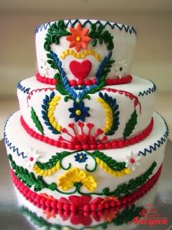#с200 (10) свадебный торт с разноцветными узорами
