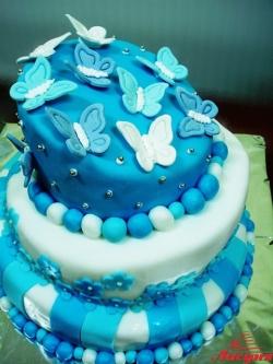 #с200 (12) кривой свадебный торт с бабочками
