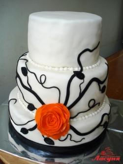 #с200 (13) свадебный торт с розой