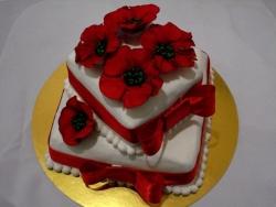 #с200 (16) свадебный торт красные маки