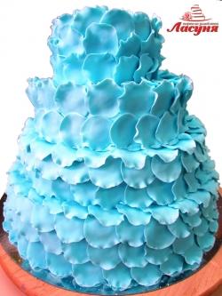#с200 (20) свадебный торт голубые лепестки