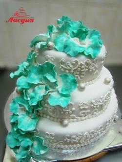 #с200 (21) свадебный торт бирюзовые орхидеи
