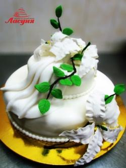 #с200 (22) свадебный торт с веточками