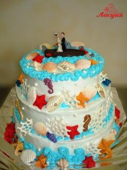 #с200 (25) свадебный торт морской