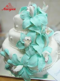 #с200 (29) свадебный торт бирюзовые орхидеи
